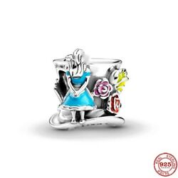 Charm Alice In Wonderland And Tea Party Time Machine Mad Hatter Silver