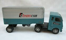Vintage Tin Toy Tc Transcon Semi Truck Trailer Friction Toy Japan, Not Working