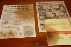 Cox Stuka 87d 1960s Manual And How-to-fly Sheet Copy Of This Set