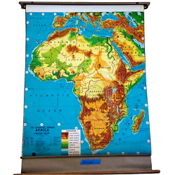 Large Mid Century Africa Roll Pull Down School Map Weber Gorgeous 56x40