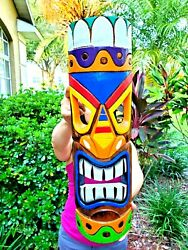 Unique 20 Hand Carved Wood Multi-color Style Tiki Mask With Vibrant Design