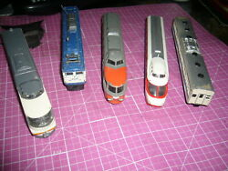 Lot Of 5 Vintage Antique Metal Japanese Model Train Cars, 1/120 To 1/160 Scale