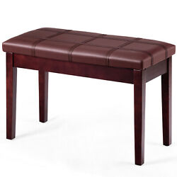 Solid Wood Pu Leather Piano Bench Padded Double Duet Keyboard Seat Storage Brown