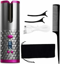 Cordless Wireless Auto Rotating Hair Curler Straightener Curling Lcd Ceramic New