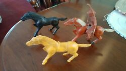 Vintage Set Of 3 Auburn Or Marx Rubber Horses With One Cowboy