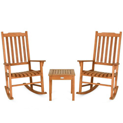 3-piece Eucalyptus Wood Outdoor Rocking Chair With Coffee Table
