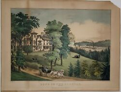 Currier And Ives Original Lithograph- Life In The Country Morning.