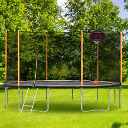 14 Ft Trampoline For Kids/adult With Safety Enclosure Basketball Hoop And Ladder