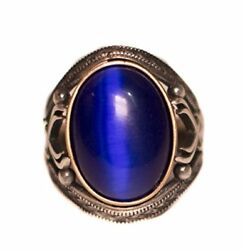Sterling Silver Men Byzantine Ring Cats-eye Blue Created Stone Men Ring
