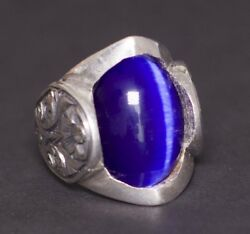 925 Sterling Silver Mens Uniqe Perfect Ring Caats Eye Blue Natural Gemstone