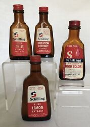 Vintage Schilling Glass Bottles - 3 Extract And 1 Food Color - Lot Of 4
