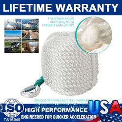 3/8 X 75and039 White Three Strand Nylon Anchor Line Rope Boat With Thimble Safe Rope