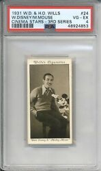 1931 W.d. And H.o. Wills Walt Disney Mickey Mouse 24 Rookie Psa 4 Vg-ex Rc Card