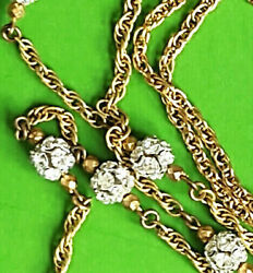 Rare Vintage Signed Miriam Haskell Gold Tone Necklace With Rhinestone Globes 40