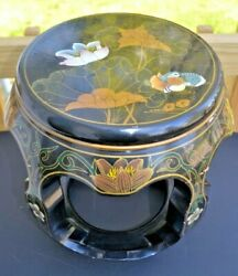 Vintage Wooden Chinese Black Lacquer Pedestal Plant Stand W/ornate Bird And Lotus