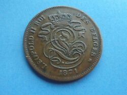 Belgium 2 Cents 1871 Scarce Date As Shown.