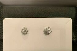Diamond Accent Amazing Wedding Special Solid 14k White Gold Stud 1.00ct Earrings