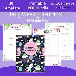Printable Daily Agenda Daily Hourly Planner Templates Pack Templates 30in1 PDF