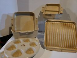 Vintage 6 Piece Littonware Microwave Set Muffin 3.5 Q 1 Quart Grease Bacon