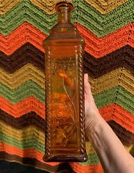 Vintage Amber Brown Glass Square Whiskey Bottle Bitters Flowers Tall Vase 14