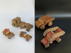 Lot Of 5 Handmade Vintage Wooden Toy Car Child's Play Toys