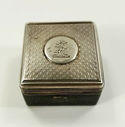 Rare Heraldic Antique 1856 English Sterling Silver And Tin Tinderbox London
