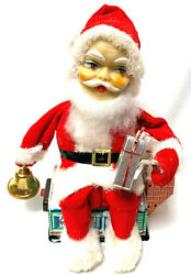 Animated 1950s Santa Claus Christmas Tin Litho Toy Japan Battery Operated W Box