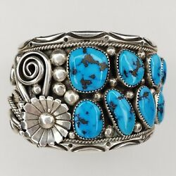 Native American Navajo Stover Paul Sterling Silver Turquoise Cuff Bracelet