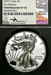 2019-s Silver Eagle Enhanced Rev. Proof Ngc Pf-70 First Release Mercanti Label