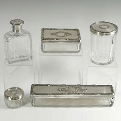 Antique French Sterling Silver And Cut Glass Vanity Set Perfume Bottle Powder Jars