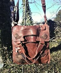 LUCKY BRAND 🍀 ABBEY ROAD BROWN FLORAL EMBROIDERED FOLD OVER BAG $219.99