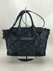 Secondhand Coach Canyon Quilt Game Swagger 38365 Bag Leather Blk