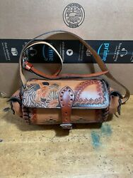 EUC vtg native leather tote barrel bags brown all over graphic adjustable strap $62.99