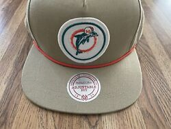 Nfl Miami Dolphins Khaki Hat Mitchell And Ness Vintage Collection Football