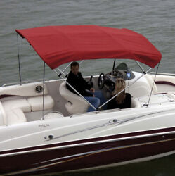 """Shademate 80312 Red Bimini Top Poly Fabric And Boot Only,4bow,8'l,54h,54""""-60""""w"""