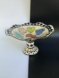 Artist Signed Macenzie Childs Style Pottery Art Handpainted Compote Fruit Bowl