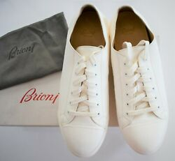 Authentic Brioni Ivory Leather Low-top Fashion Sneakers Shoes 11 Us-12