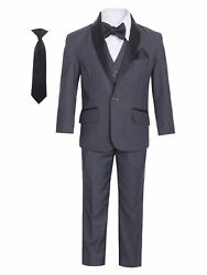 Little Boys Charcoal Satin Shawl Collar 7 Pcs Special Occasion Tuxedo 1-7