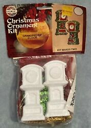 Vintage Holiday Christmas Ornament Beaded Sequin Kit Grandfather Clock Nos 3489