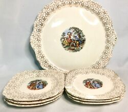 Vintage Royal China 22k Gold Colonial Couple Dinner And Salad Plate Set - Lot Of 7