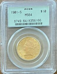 1901-s 10 Pcgs Ms64 - Liberty Eagle - Gold Coin Ms64 Premium