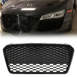 1x Gloss Black Car Front Upper Grille Grill Abs Plastic Fit Audi R8 2013-2015 14