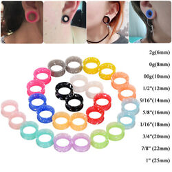 2pc Flexible Silicone Double Flared Ear Tunnels Plugs Gauges Stretching Expander