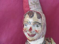 1920s Antique Hard Rubber And Wood Harlequin Clown Mechanical Toy Very Rare