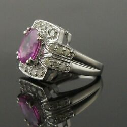 Solid 14k White Gold 3.50 Ctw Pink Sapphire And .33 Ctw Diamond Estate Ring