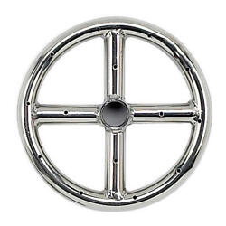 6 Single Ring Stainless Steel Outdoor Cross Bar Fire Pit Burner W/.5 Inlet