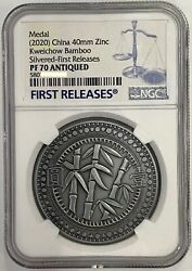Ngc Pf70 China Coin Medal Kweichow Bamboo Silvered Medal Antiqued