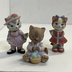 Vintage 1993 Bc Bronson Collectibles Kitty Cat Ceramic Bisque Figurines Lot Of 3