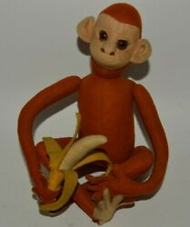 German Vintage Antique Schuco Brown Jointed Monkey W/ Banana Mint Ultra Rare