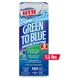 Hth Super Green To Blue Shock System For Swimming Pools 7.2 Lbs